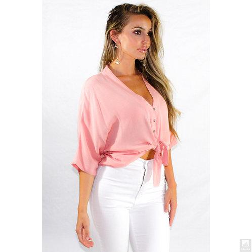 Lovable Pink Waist Tie Top