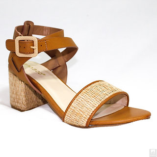 Sandy Tan Open Toe Ankle Strap Casual High Heels