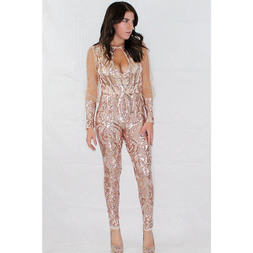 Rose Gold Long sleeve sequins jumpsuit
