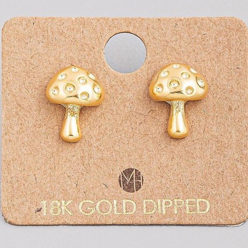 18K Gold Dipped Mushroom Earrings
