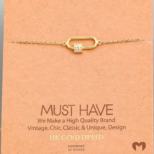 18K Gold Dipped Crystal Lock Bracelet