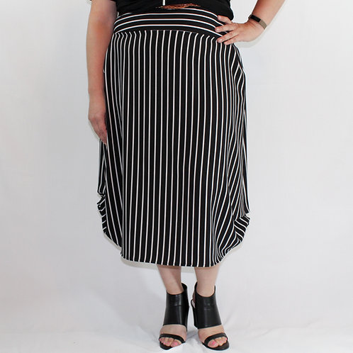 Striped skirt with belt