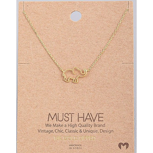 18K Gold Elephant Necklace