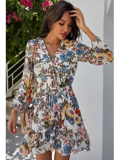 White Floral V-neck Dress with Sleeves