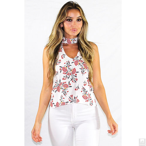 Ambitious Fanned Floral Choker Tank