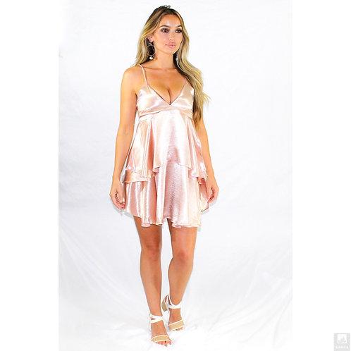 Stunning Satin Ruffle Dress