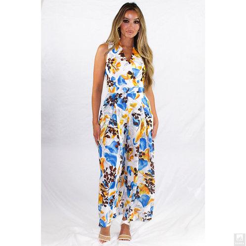 Aloha Tie-front Wrap Floral Jumpsuit