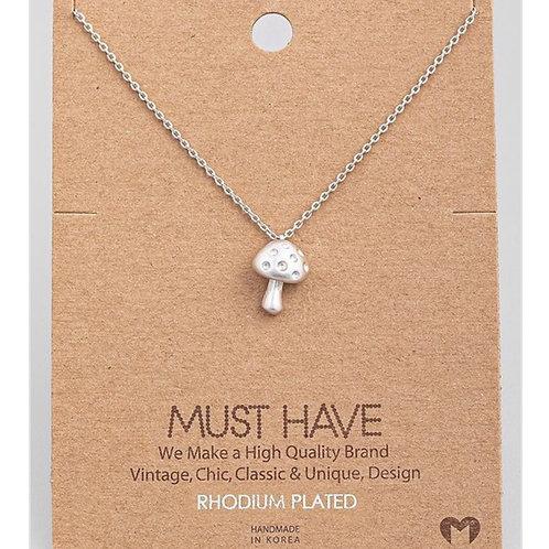 Silver Mushroom Necklace