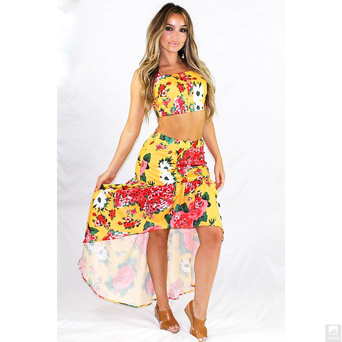 Bright Flower Print Yellow Set