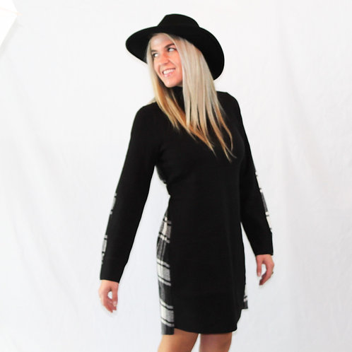 Queen plaid and solid sweater dress
