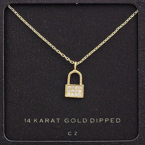 14K Gold Dipped Lock Crystal Necklace