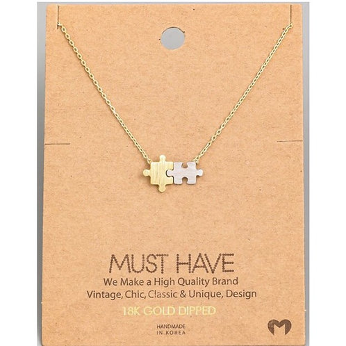 18k Gold Dipped Puzzle Piece Necklace