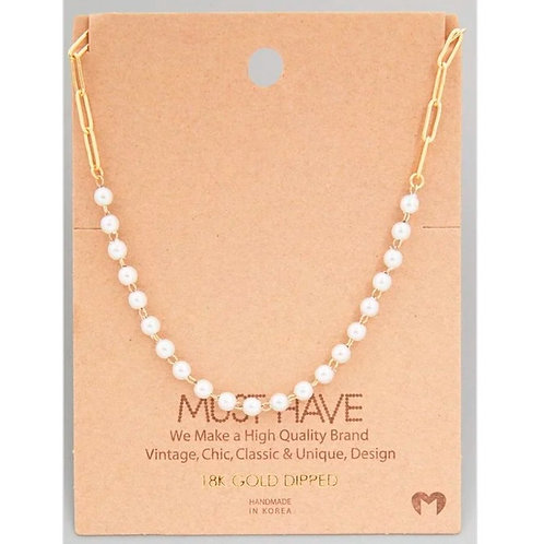 18K Gold Dipped Pearl and Chain Link Necklace