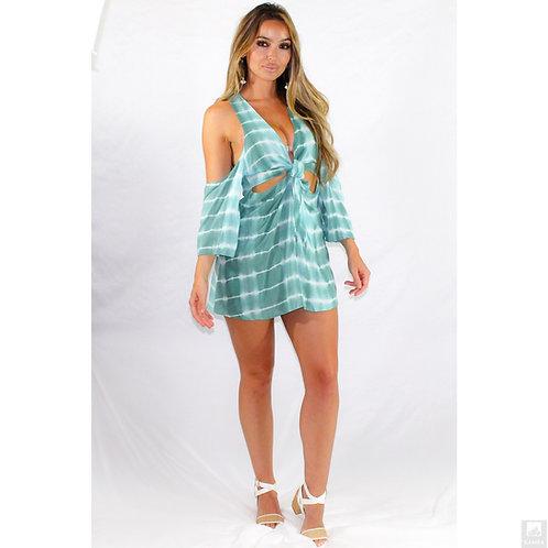 Striking Teal Tie Dye Cutout Dress