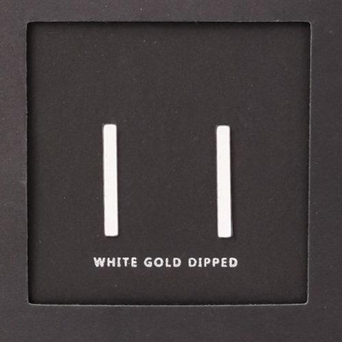 24K White Gold Dipped Bar Earrings