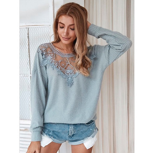 Harmony Grey Lace Sweater
