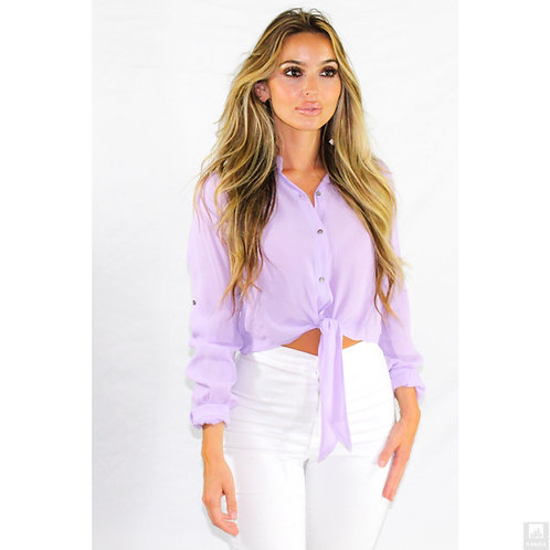 Musical Lavender Roll-up Waist Tie Top