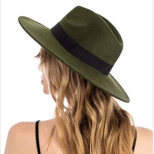Olive Fedora 100% Wool