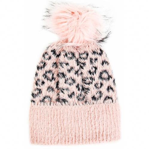 Pink Leopard Pom Pom Beanie