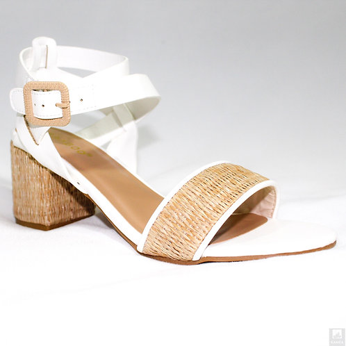 Pearly White Open Toe Ankle Strap Casual High Heels