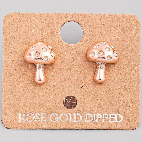 Rose Gold Dipped Mushroom Earrings