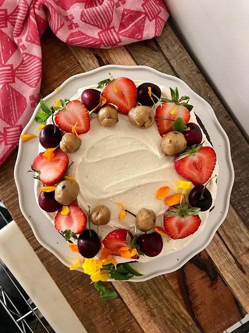 All Vegan and Organic Layered Cake with Seasonal Fruit & Cookie Dough Balls
