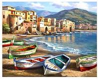 צביעה לפי מספר - חוף עם סירות