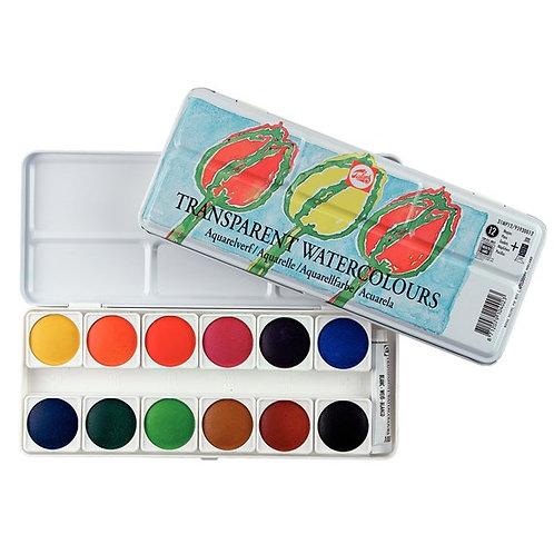 צבע מים כפתורים אריזת מתכת טלנס סט 12