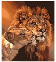 צביעה לפי מספר - אריה ולביאה