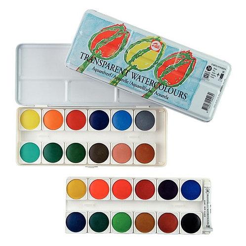 צבע מים כפתורים אריזת מתכת טלנס סט 24