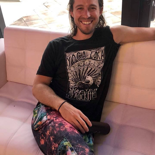Alex Jarboe at YogaPod sporting a YogaLoka tee
