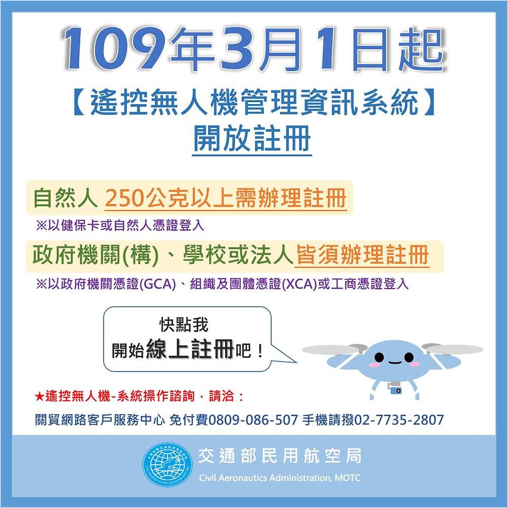 無人機管理資訊系統開放註冊頁面。圖片來源:交通部民用航空局