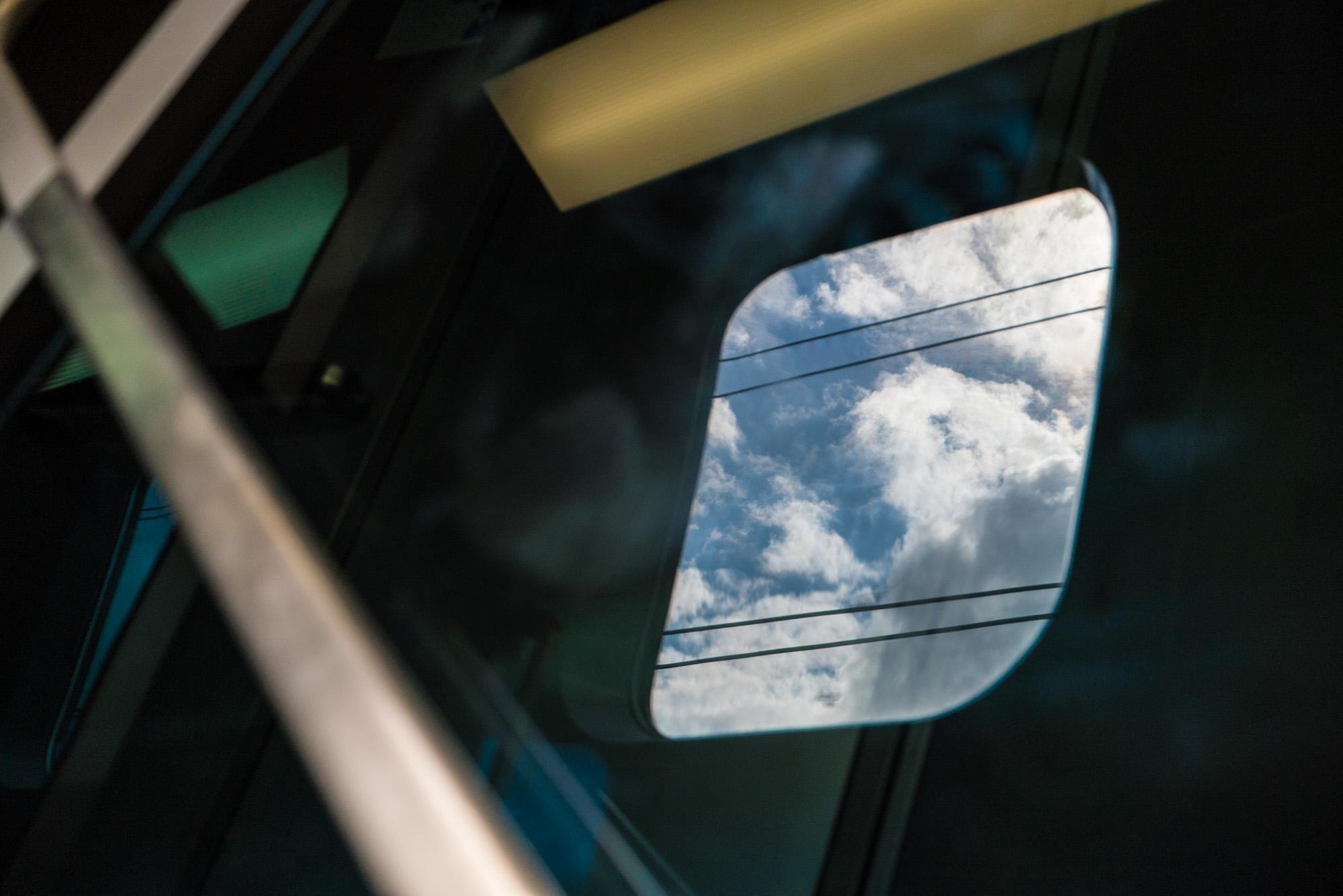 train window, sky