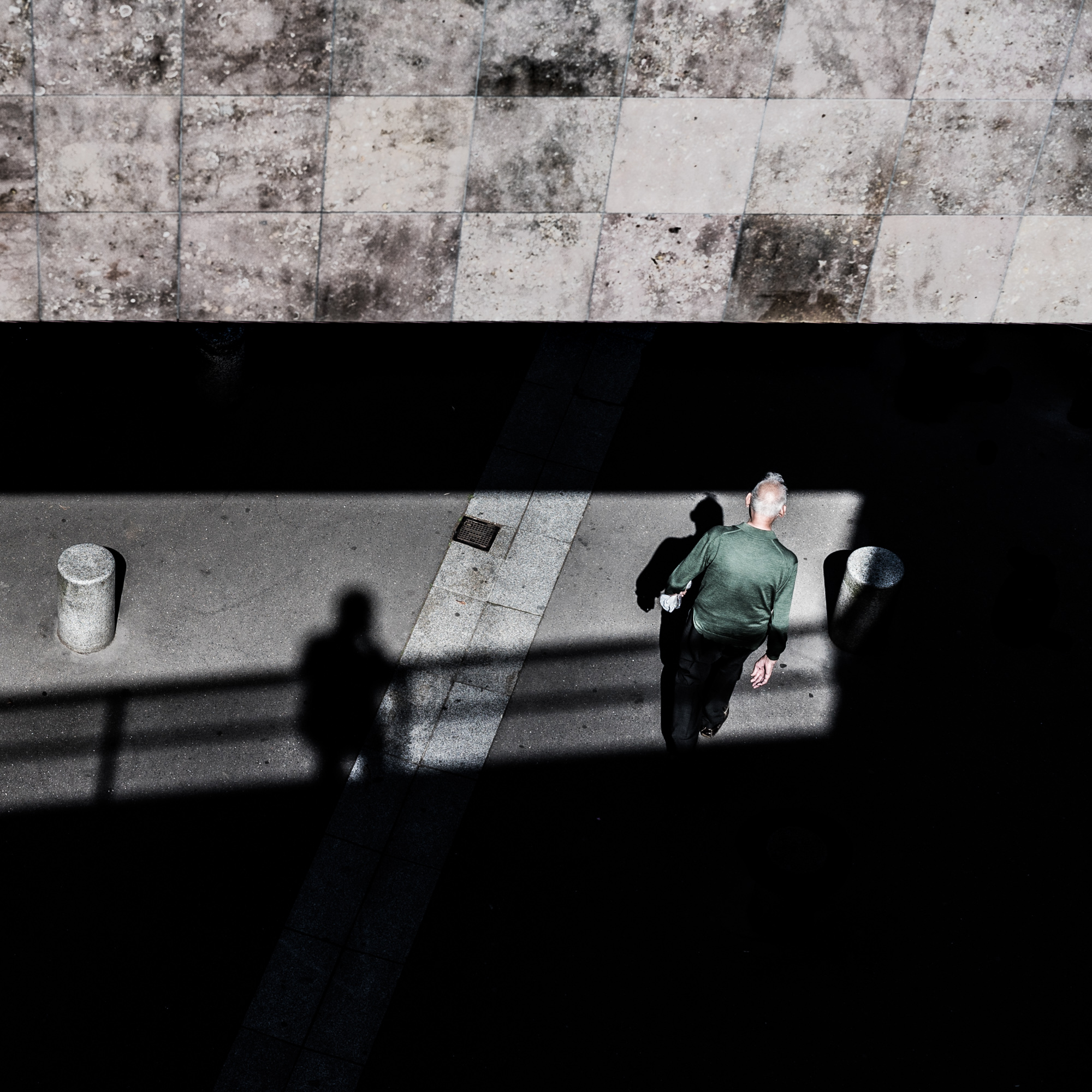 shadow, men, bridge, pont, passing