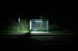 ARRET, bus stop, night, light
