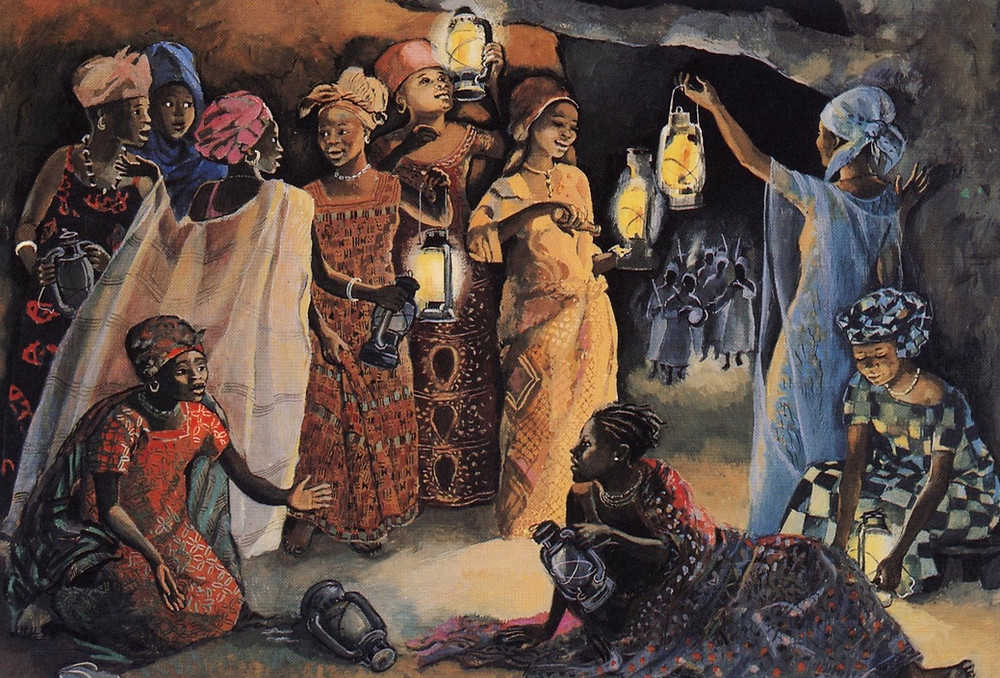 The Ten Young Women, from By the Jesus MAFA project Cameroon. Art in the Christian Tradition, a project of the Vanderbilt Divinity Library, Nashville, TN. [retrieved November 4, 2020]. Original source: librairie-emmanuel.