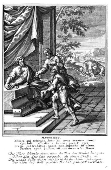 A depiction of the parable of talents, showing two men brining their money back to their master. A Woodcut from Historiae celebriores Veteris Testamenti Iconibus representatae. 1712, author unknow