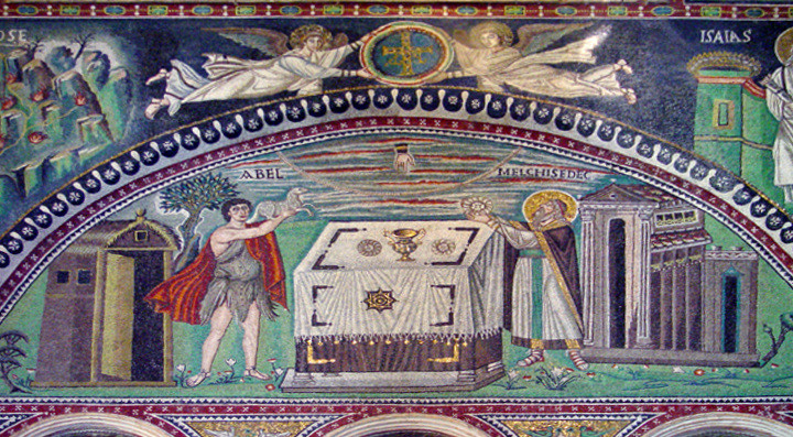 St. Vitale - Abel and Melchizedek Sacrificing, Mosaic depicting Abel and Melchizedek bringing their offerings to the altar (521-547 CE), from Art in the Christian Tradition, a project of the Vanderbilt Divinity Library, Nashville, TN. http://diglib.library.vanderbilt.edu/act-imagelink.pl?RC=32209 [retrieved March 14, 2018]. Original source: Images donated by Patout Burns, Vanderbilt University. Digitally manipulated by SS.