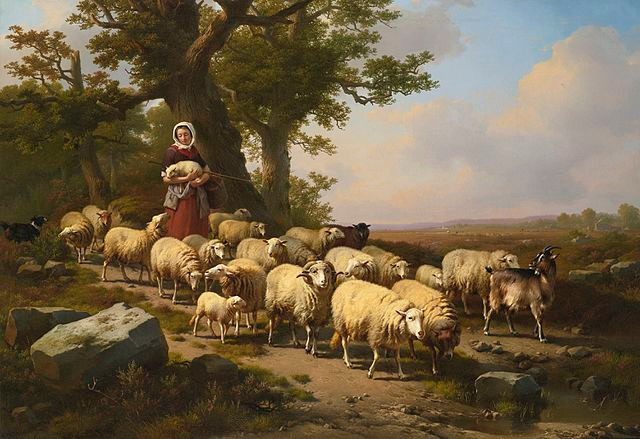 A Shepherdess with her Flock, 1871 Eugène Verboeckhoven [Public domain], via Wikimedia Commons