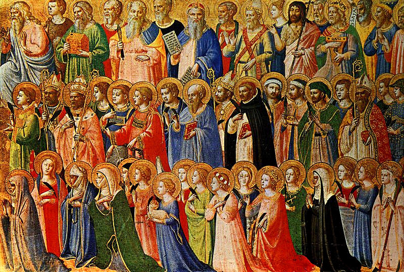 Fra Angelico's The Forerunners of Christ with Saints and Martyrs (about 1423-24) Tempera on wood, at the National Gallery, London. Image in public domain, from Wikipedia
