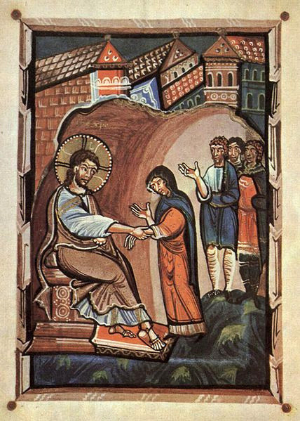 By Meister des Hitda-Evangeliars [Public domain], via Wikimedia Commons Jesus heals Peter's mother-in-law, illumination on parchment c1020