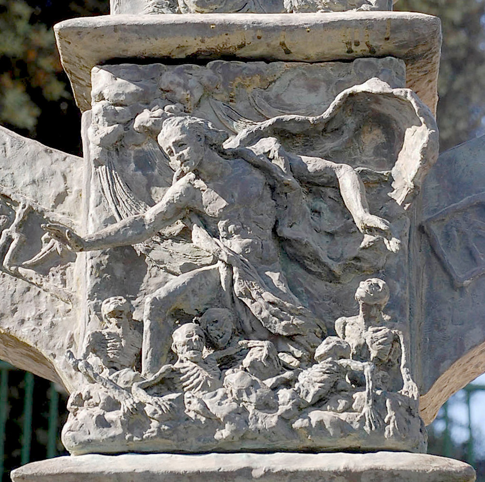 A Light Unto the Nation,  Knesset Menorah; sculpture by Benno Elkan. Image is of a single relief (portraying Ezekiel and the dry bones) of a larger piece of work on public display in the Knesset in Jerusalem.