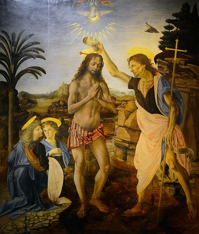 The Baptism of Christ, painted by Andrea Verrocchio the master student of Leonardo, da Vinci. Many scholars claim that Leonardo heavily influenced this piece. [CC BY-SA 4.0 (https://creativecommons.org/licenses/by-sa/4.0)]
