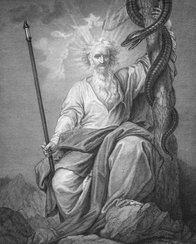 The Macklin Bible – Moses 1793. Artist: West, Benjamin, 1738-1820; Hall, John, 1739-1797 from Art in the Christian Tradition, a project of the Vanderbilt Divinity Library, Nashville, TN. http://diglib.library.vanderbilt.edu/act-imagelink.pl?RC=54084  [retrieved March 8, 2018]. Original source: A gift to Vanderbilt University from John J. and Anne Czura.