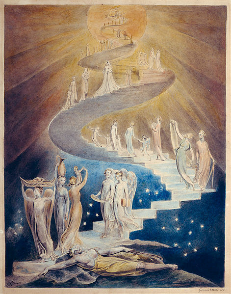 William Blake (1757-1827) Jacob's Dream, 1805, pen, ink, and watercolor. Public domain https://commons.wikimedia.org/wiki/File:Blake_jacobsladder.jpg