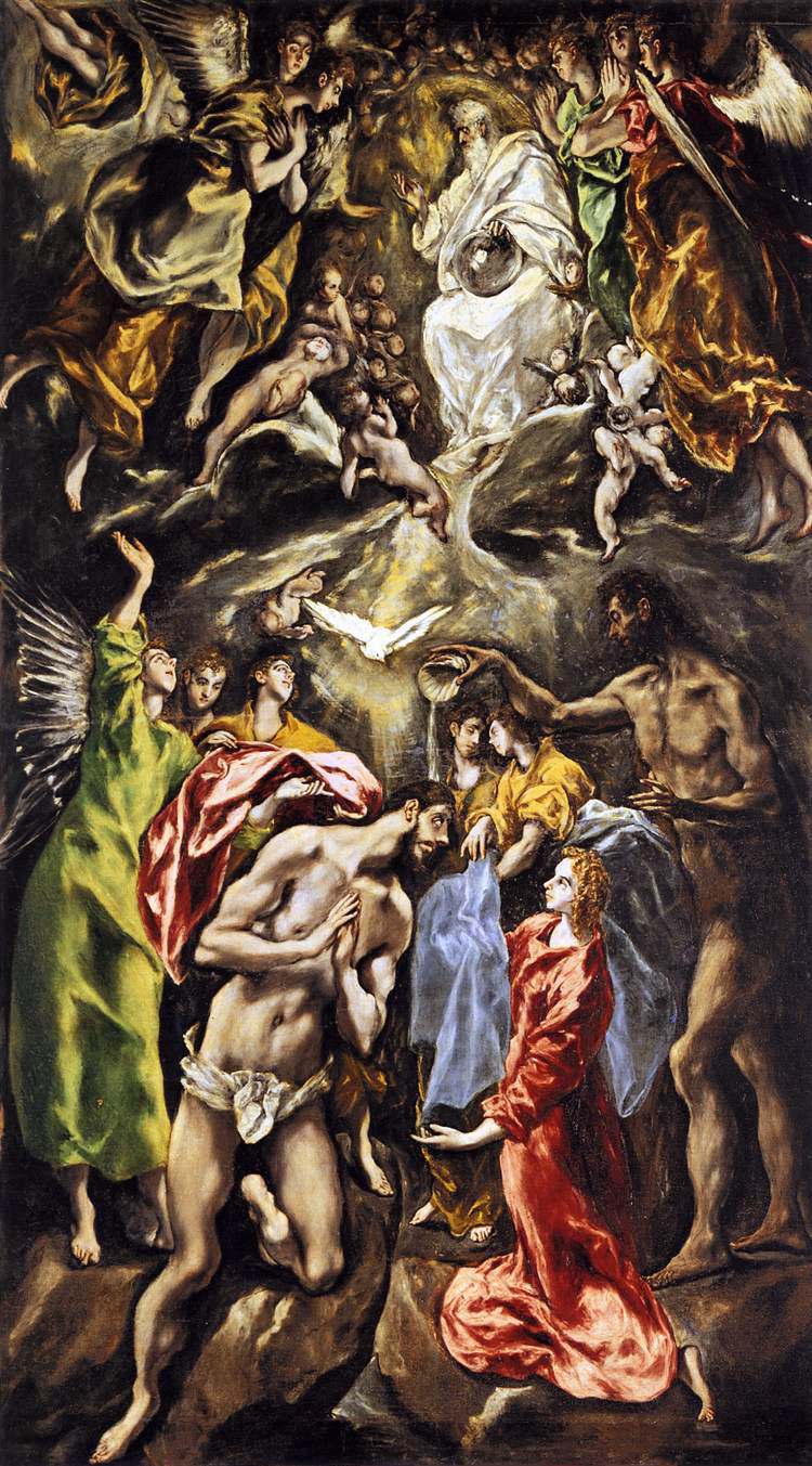 The Baptism of Christ, by El Greco (1541-1614), oil on canvas c1614. Public domain