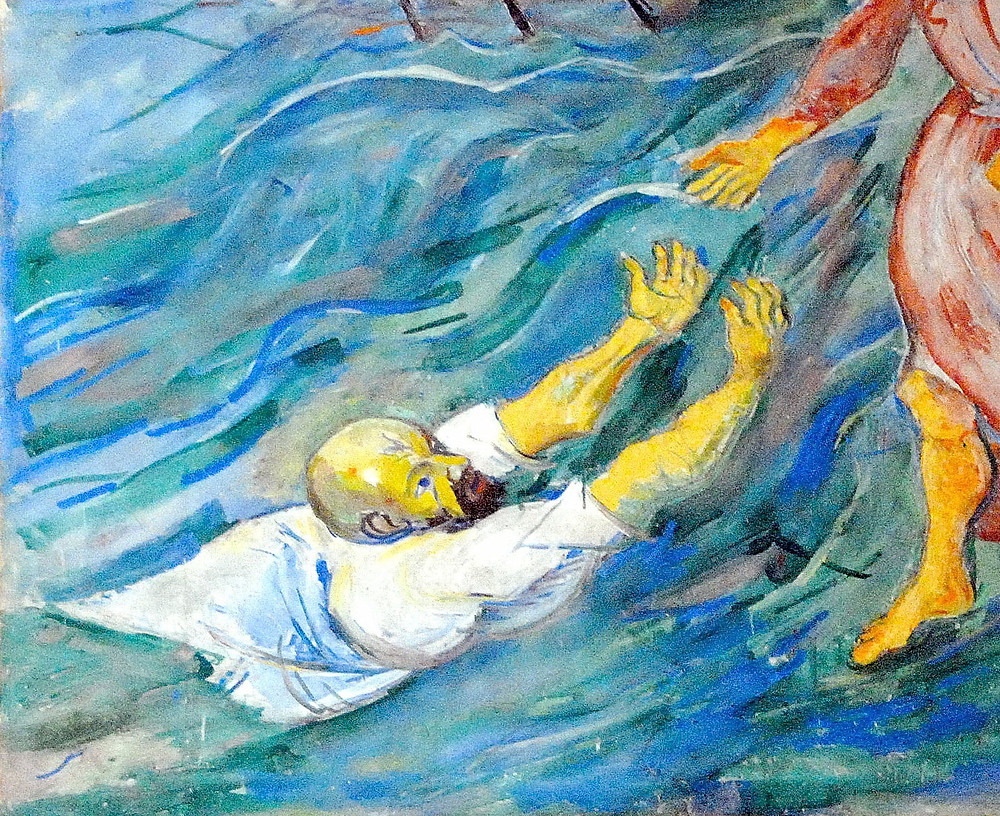 """A detail from, Herbert Boeckl`s fresco """"Saint Peter`s rescue from the Lake Galilee"""" (1928) inside the pilgrimage church Assumption of Mary, market town Maria Saal, district Klagenfurt Land, Carinthia, Austria, EU. Photo by Johann Jaritz / CC BY-SA 3.0 AT"""