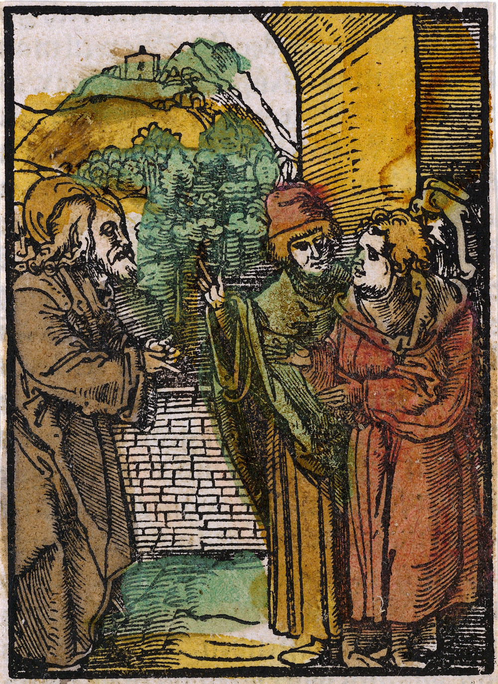 Christ and the Pharisees, from Das Plenarium; Hans Schäufelein (German, Nuremberg ca. 1480–ca. 1540 Nördlingen) 1517; Woodcut (hand-colored) Public Domain The Metropolitan Museum of Art