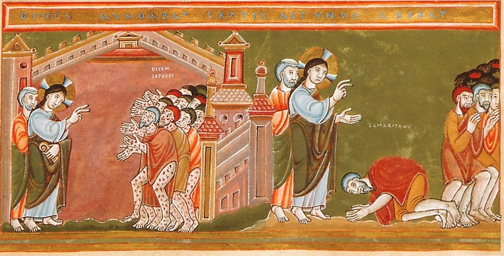 Cleansing of the ten lepers, c. 1035-1050 Illumination from Codex Aureus Eptemacensis [public domain]
