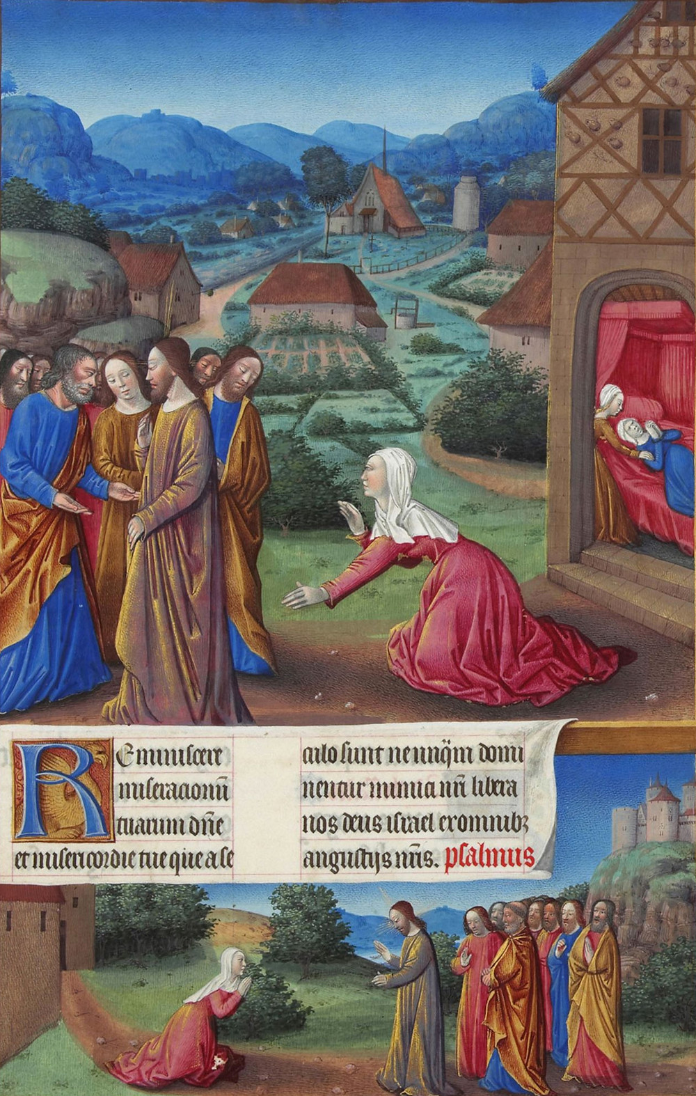 The Canaanite Woman asks for healing for her daughter, Date: 1412-1416 Artist: Limbourg, Herman de, 1385-1416 Condé Museum / Public domain